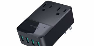 AUKEY Wall Charger with 2 Outlets and 4 USB Ports 30W USB Charger