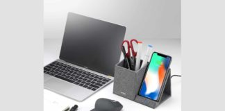 Lecone 10W Fast Wireless Charger with Desk Organizer-min