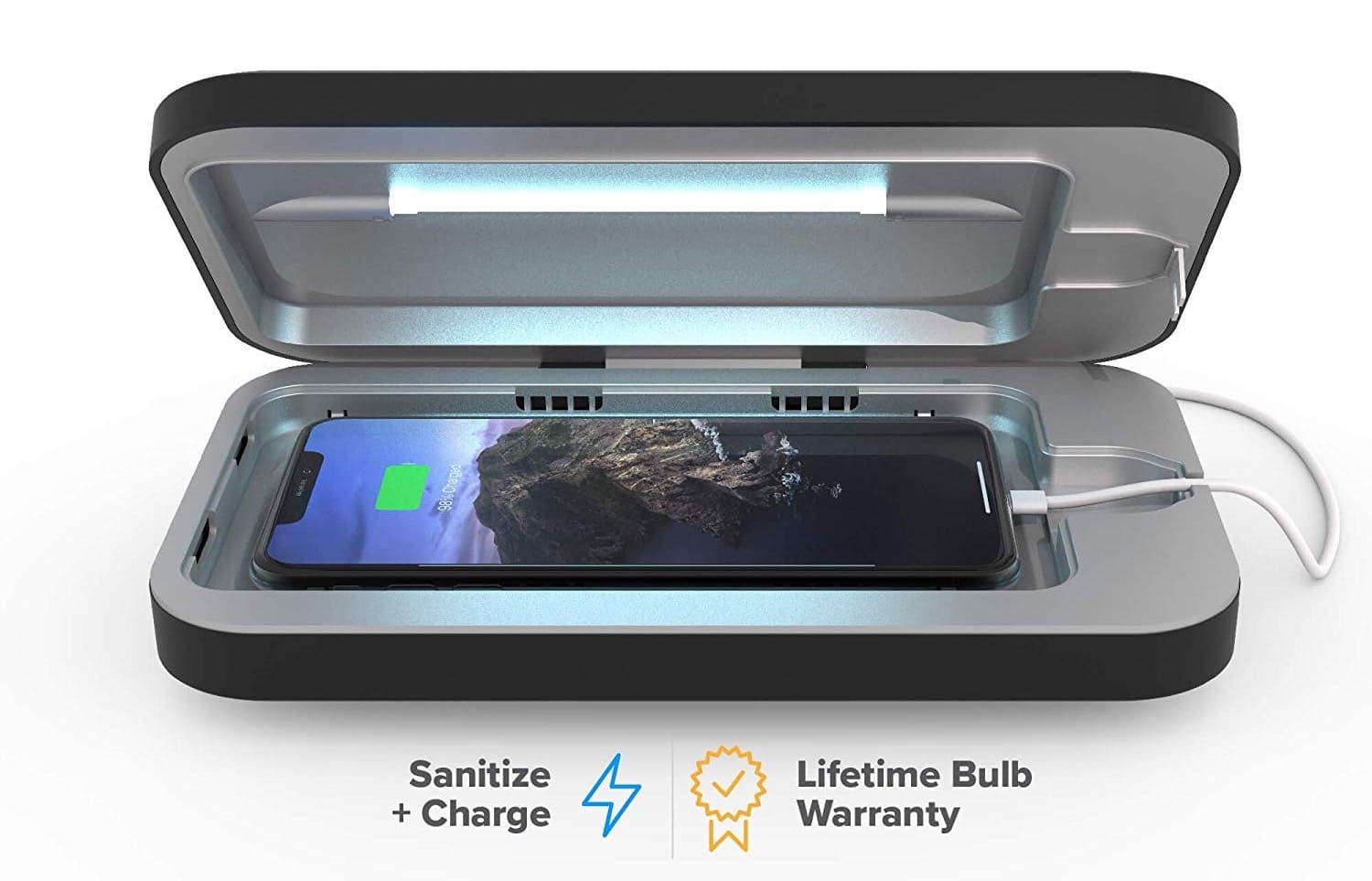 PhoneSoap 3 UV Cell Phone Sanitizer and Dual Universal Cell Phone Charger -min