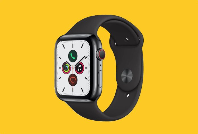 Apple Watch Series 5 (GPS + Cellular, 44mm) - Space Black Stainless Steel Case with Black Sport Band -min