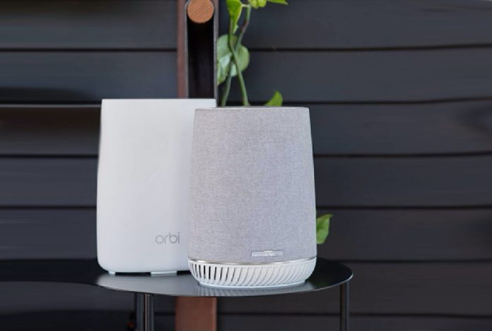 NETGEAR Orbi Tri-band Whole Home Mesh WiFi System with Built-in Smart Speaker -min