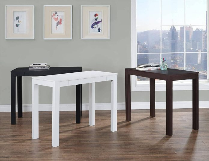 Ameriwood Home Parsons Desk with Drawer, White -min