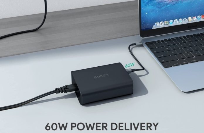 AUKEY 72W 3-Port Fast Charger with 60W Power Delivery-min