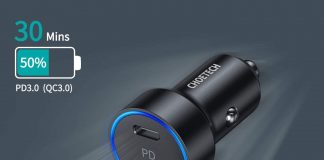 CHOETECH 36W 2-Port Fast PD 3.0 Type C Car Charger Adapter-min