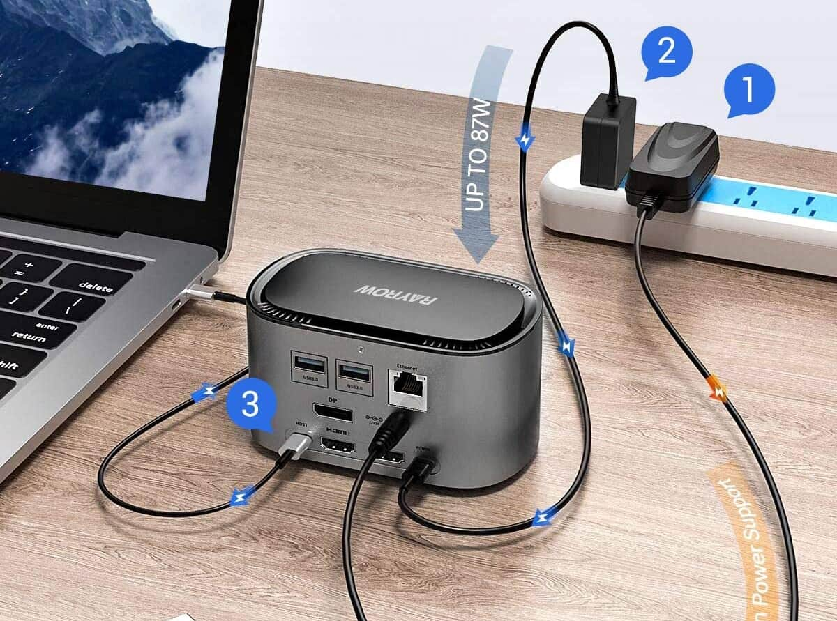 RAYROW USB-C 4K Triple Display Docking Station-min (1)