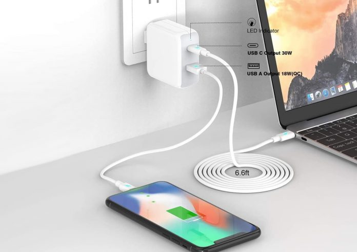 Szpower 48W Dual Port USB-C Charger with 6.6ft USB-C Cable $15.59-min