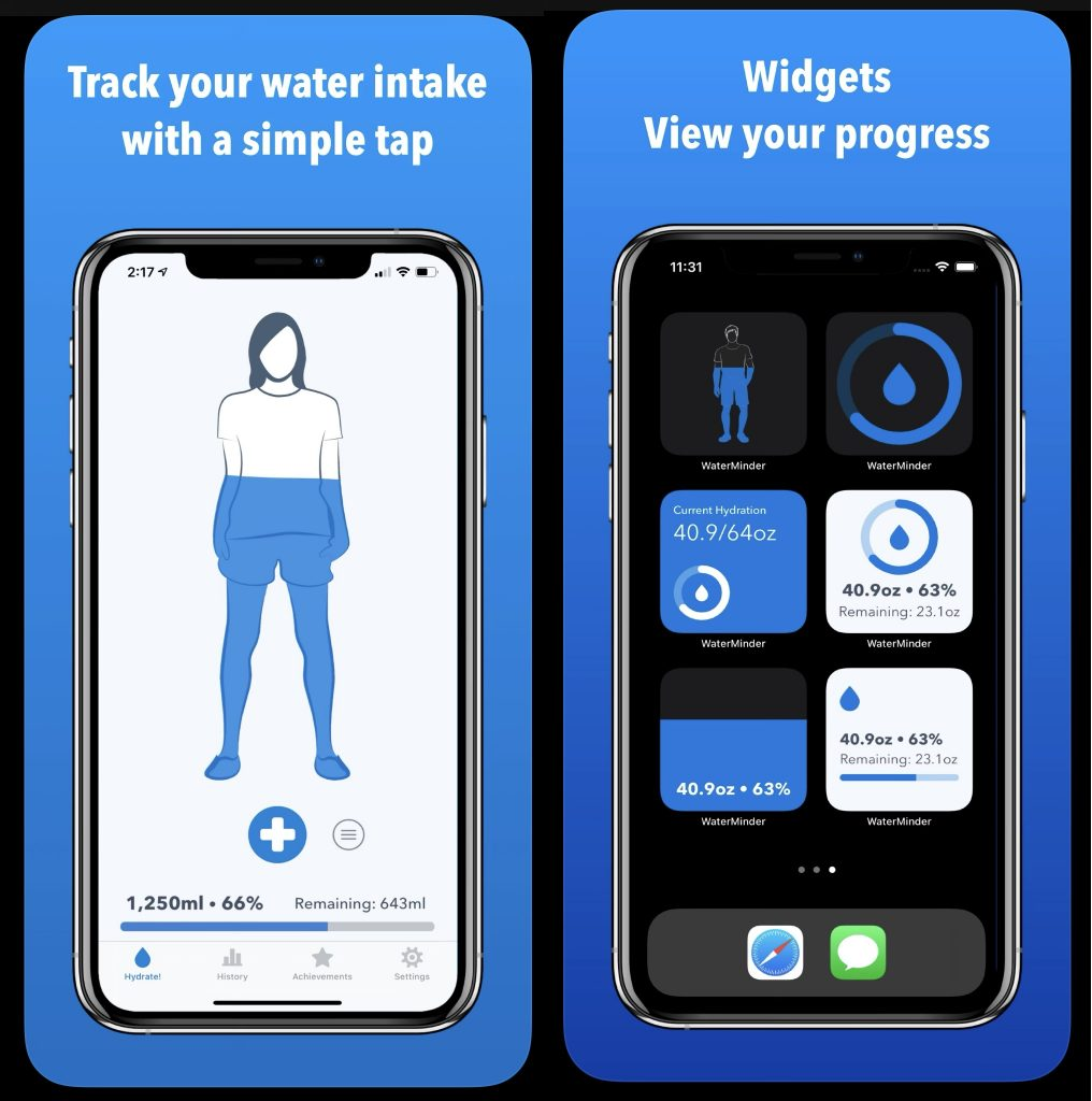 Tracking your everyday requirements for water and ensuring that the body is hydrated is not an easy task in the busy world today. WaterMinder is a simple, intuitive application to monitor the intake of your water
