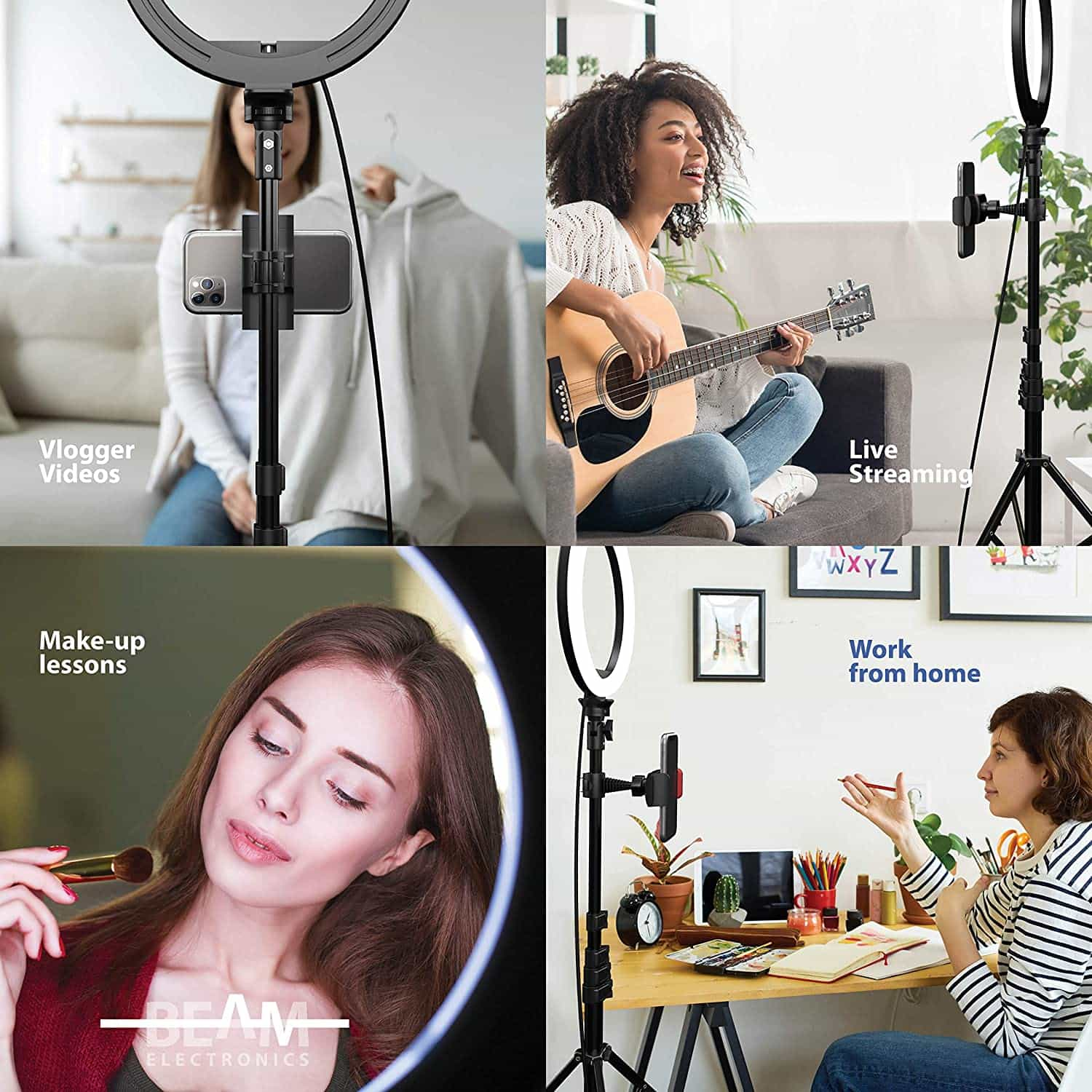 10' Selfie Ring Light with 59' Extendable Tripod Stand & Flexible Phone Holder-min