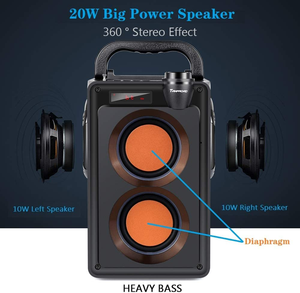 20W Portable Bluetooth Speaker with Subwoofer