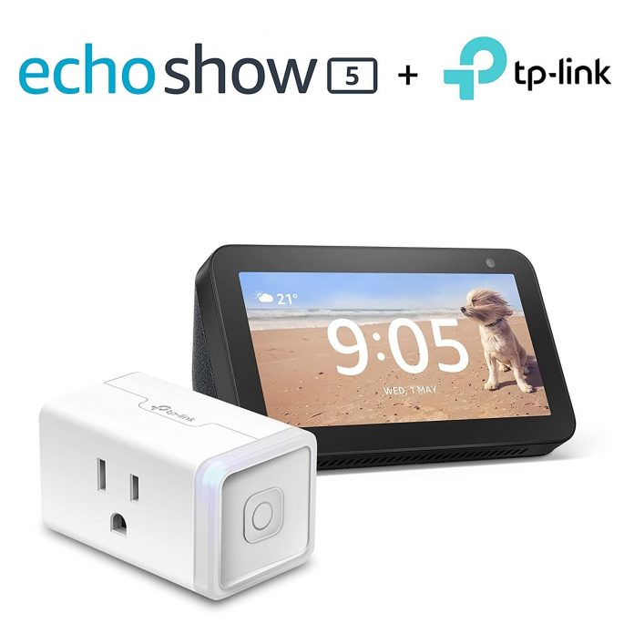 Echo Show 5 (Charcoal) Bundle with TP-Link simple set up smart plug -min
