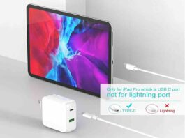 Szpower 48W Dual Port USB-C Charger with 6.6ft USB-C Cable