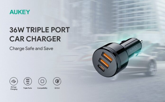 AUKEY 36W 3-Port Fast Car Charger