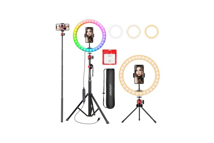 UEGOGO 10.2-inch Selfie Ring Light with Tripod Stand