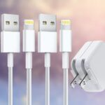 stuffcool 12W USB Wall Charger with Foldable Plug & 2 Pack 6FT Lightning Cable