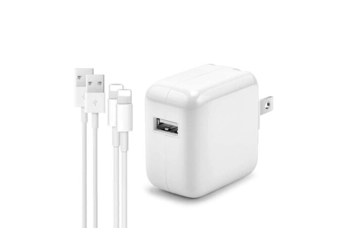 AISINI 2.4A 12W USB Wall Charger Foldable Portable Travel Plug and 2 Pack Fast Charging Cable