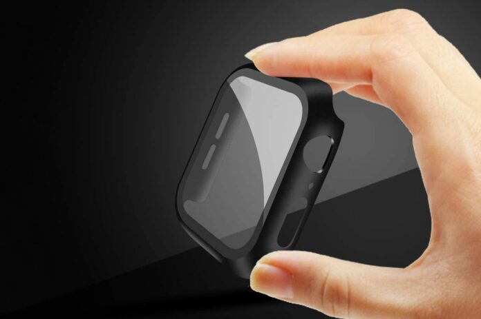 Apple Watch Tempered Glass Screen Protector with Hard Black Case