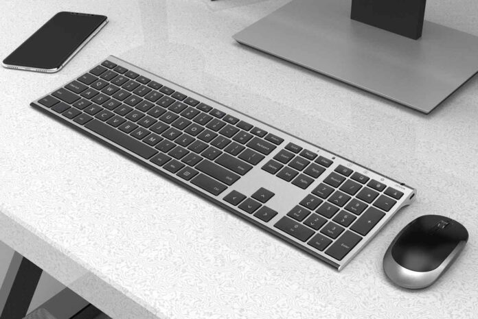 Vssoplor 2.4GHz Rechargeable Compact Quiet Full-Size Keyboard and Mouse