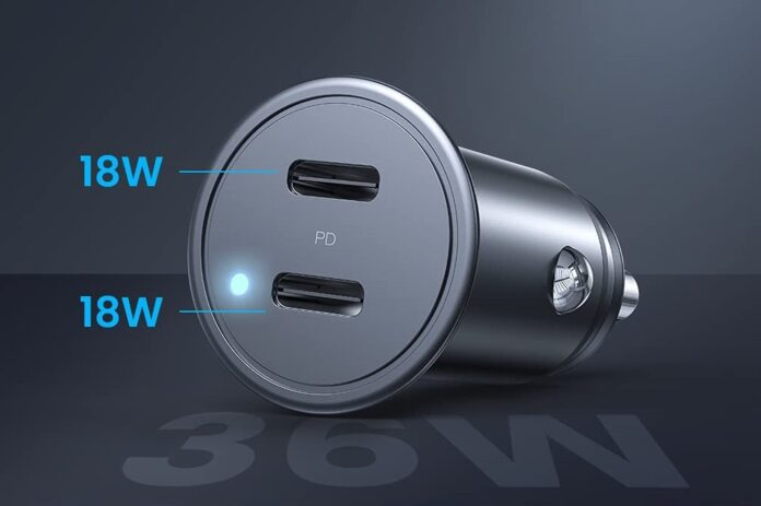 AINOPE All Metal iPhone 12 Car Charger Dual Port