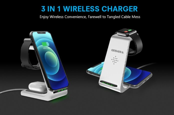GEEKERA 3 in 1 Wireless Charger Charging Dock Station
