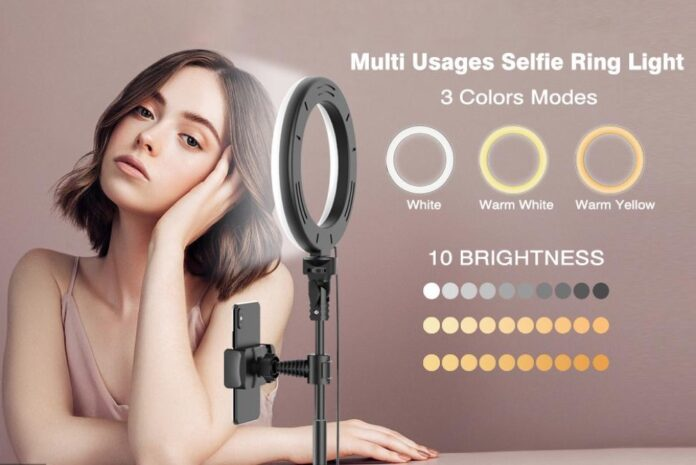 Aptoyu 8 Dimmable LED Selfie Ring Light with 51 Extendable Tripod Stand (3000K-6000K)
