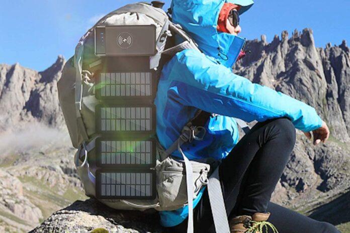 CXLiy Solar Power Bank Qi Portable Charger