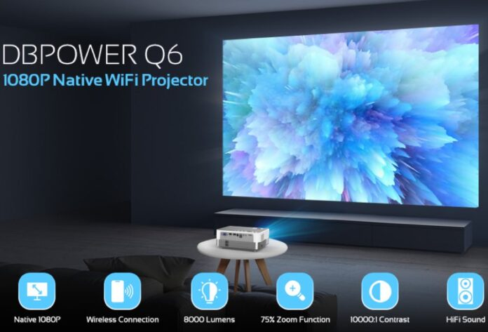 DBPOWER 8000L Full HD Outdoor Movie Projector