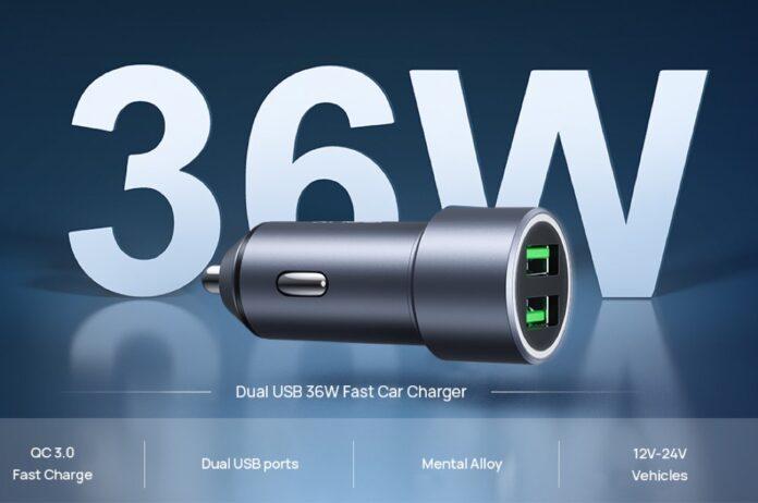 JSAUX Dual QC 3.0 USB Ports 36W:6A Fast Car Charger