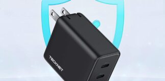 TECKNET 65W PD 3.0 GaN Charger Type C Foldable Adapter