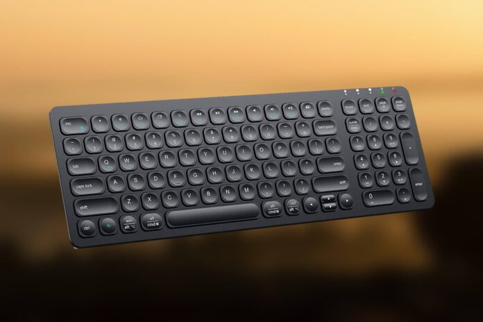 iClever GKA2-01B Rechargeable 2.4G Full Size Slim Silent Computer Keyboard