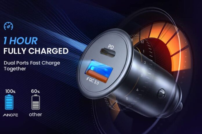 AINOPE All Metal Fast USB Car Charger