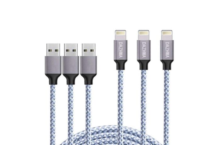 DAZHWA 3pack 6ft Phone charger Nylon Braided Lightning Cable