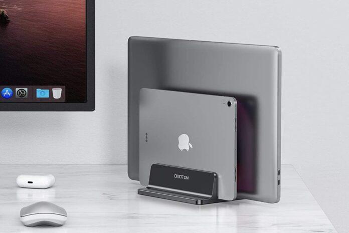 OMOTON Double Desktop Stand Holder with Adjustable Dock