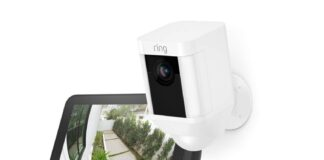 Ring Spotlight Cam Battery (White) with Echo Show 5