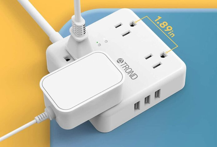 TROND Surge Protector Flat Plug with 4 Widely-Spaced Outlets
