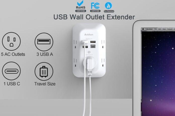 Addtam 5 Outlet Extender with 4 USB Charging Ports
