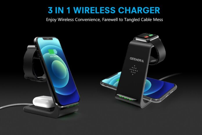 GEEKERA 3 in 1 Wireless Charger Dock Station